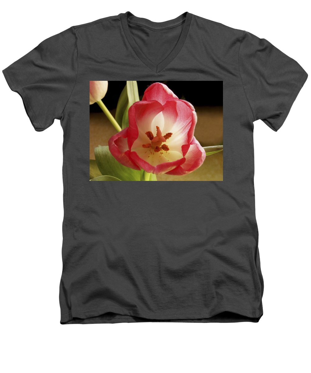 Flowers Men's V-Neck T-Shirt featuring the photograph Flower Tulip by Nancy Griswold