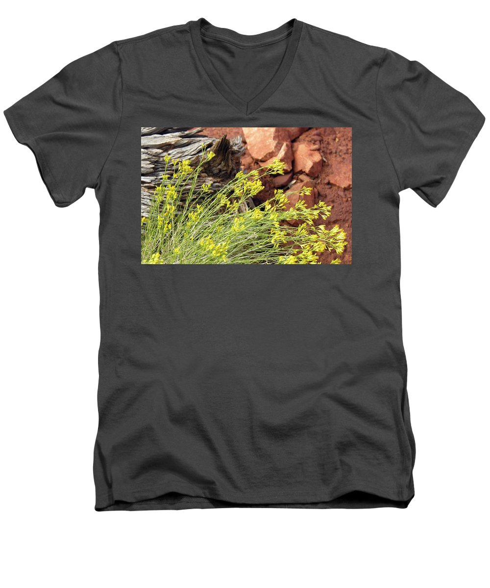 Flower Men's V-Neck T-Shirt featuring the photograph Flower Wood And Rock by Marilyn Hunt
