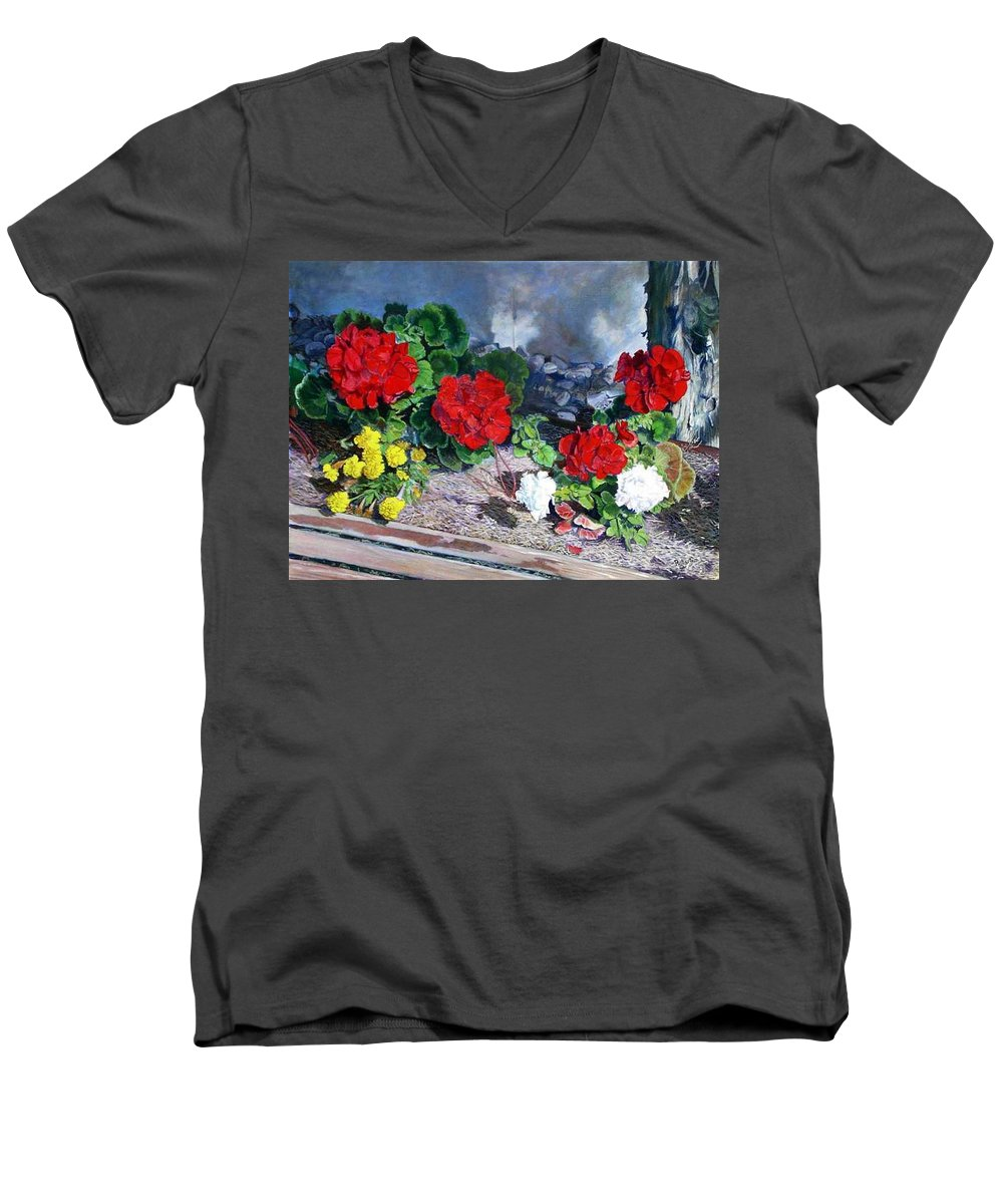 Colorful Flowers Outside Of The Church Men's V-Neck T-Shirt featuring the painting Flowers At Church by Scott Robertson