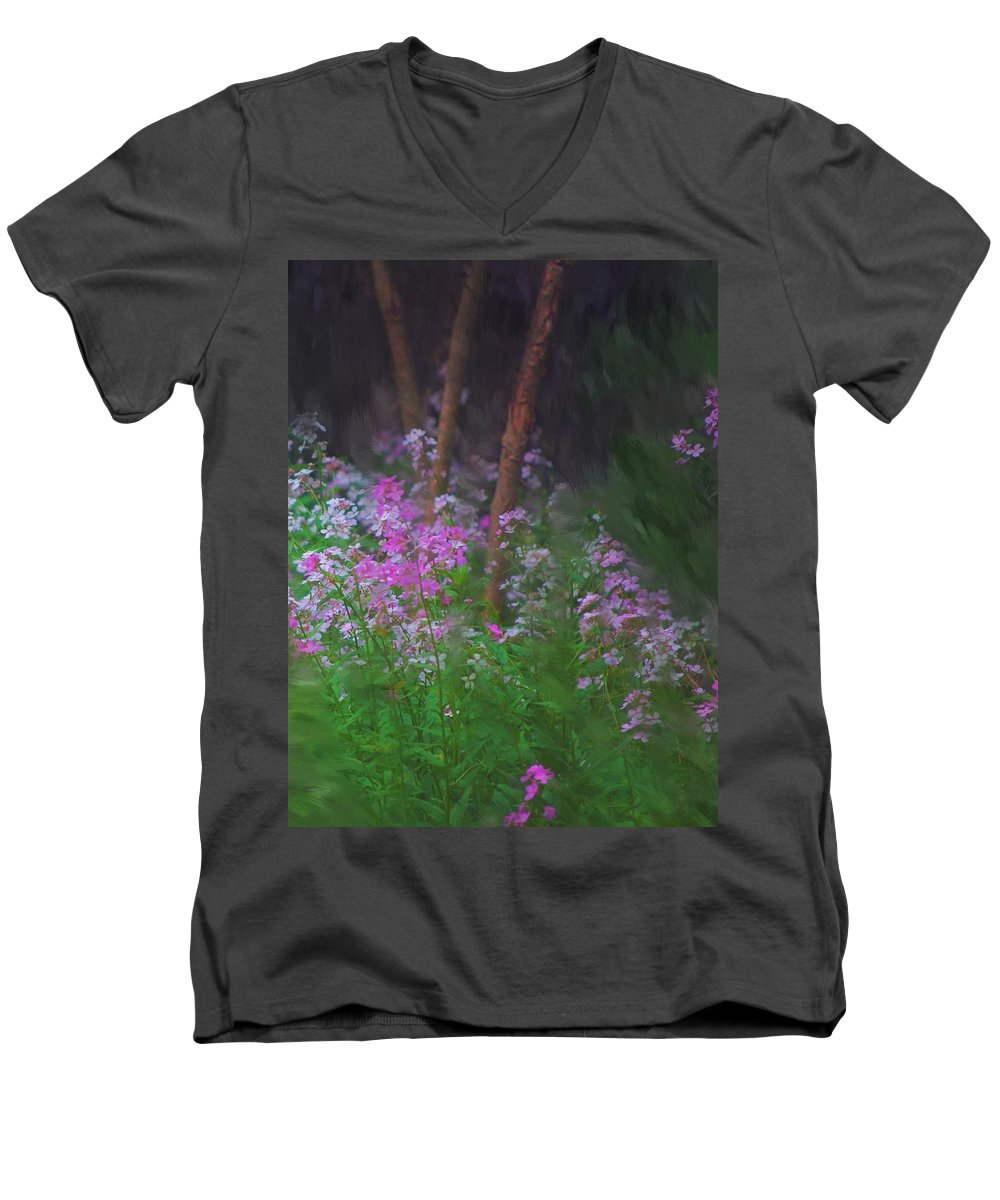 Landscape Men's V-Neck T-Shirt featuring the painting Flowers In The Woods by David Lane