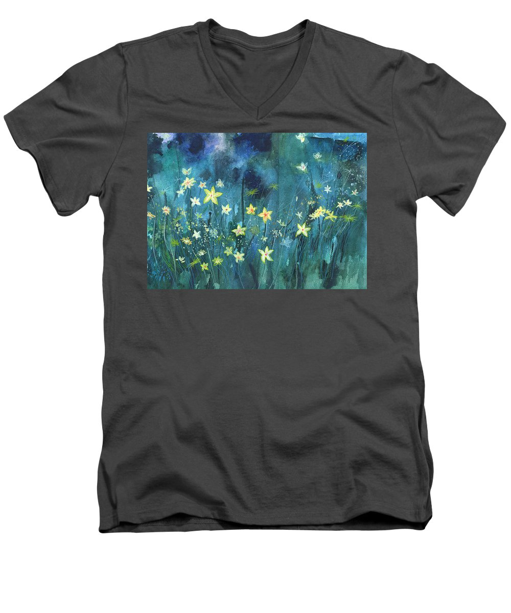 Landscape Men's V-Neck T-Shirt featuring the painting Flowers N Breeze by Anil Nene