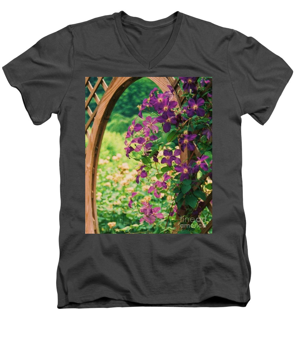 Floral Men's V-Neck T-Shirt featuring the painting Flowers On Vine by Eric Schiabor
