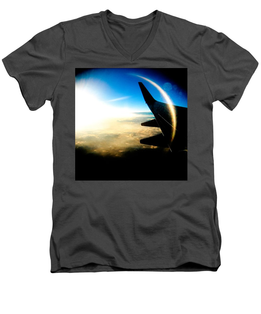 Plane Sky Sun Holga Color Photograph Men's V-Neck T-Shirt featuring the photograph Fly Like A Dolphin by Olivier De Rycke