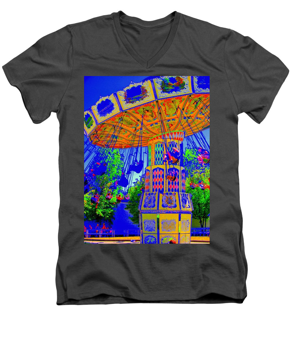 Flying High Men's V-Neck T-Shirt featuring the photograph Flying High by Ed Smith