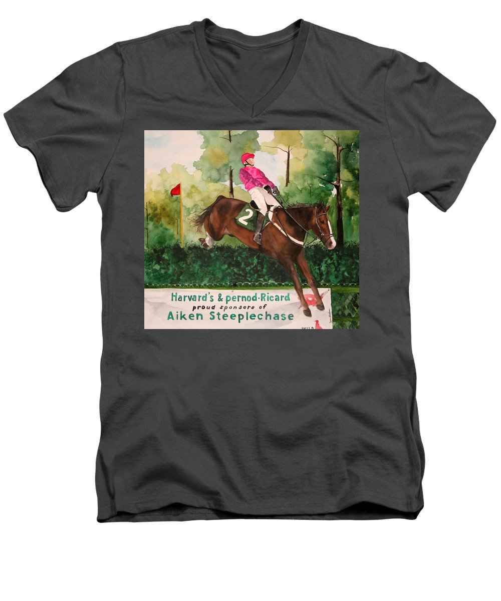Horse Men's V-Neck T-Shirt featuring the painting Flying High by Jean Blackmer