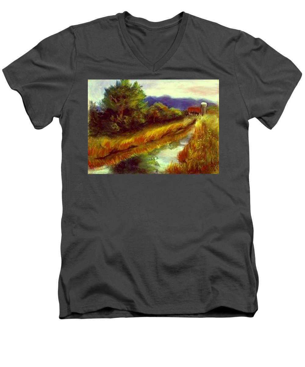 Landscape Men's V-Neck T-Shirt featuring the painting For A Thirsty Land by Gail Kirtz
