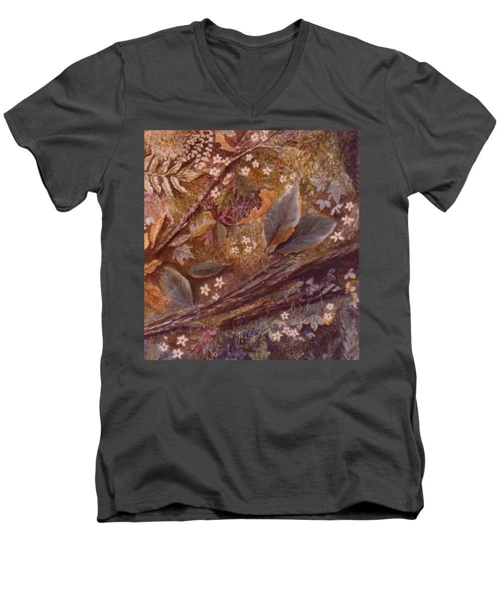 Leaves; Forest; Flowers Men's V-Neck T-Shirt featuring the painting Forest Floor by Ben Kiger