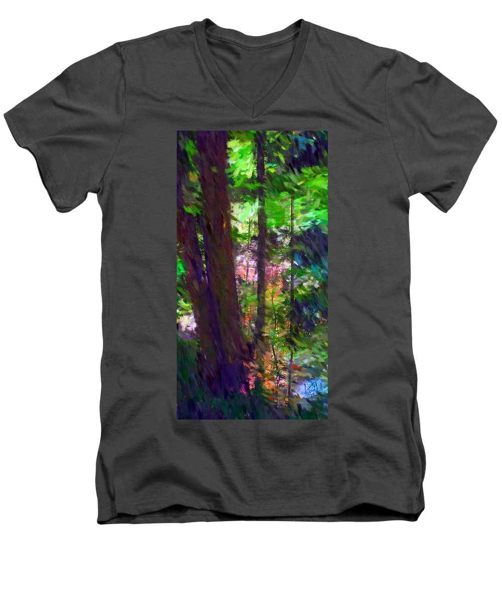 Digital Photography Men's V-Neck T-Shirt featuring the digital art Forest For The Trees by David Lane