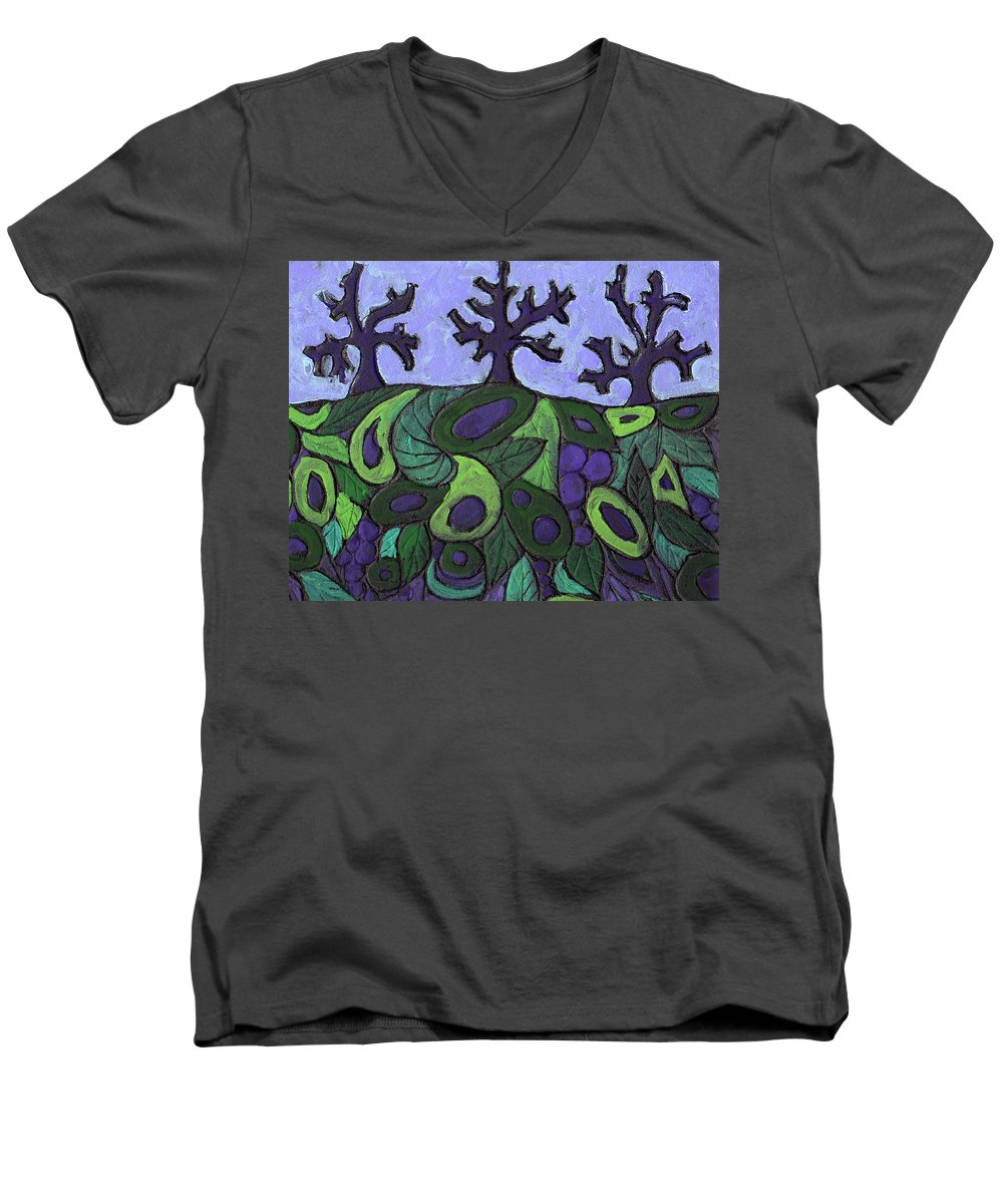 Forest Men's V-Neck T-Shirt featuring the painting Forest Royal by Wayne Potrafka