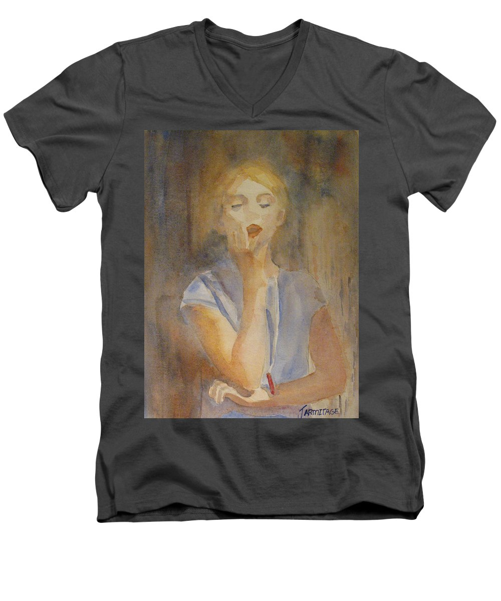 Woman Men's V-Neck T-Shirt featuring the painting Forest Singer by Jenny Armitage