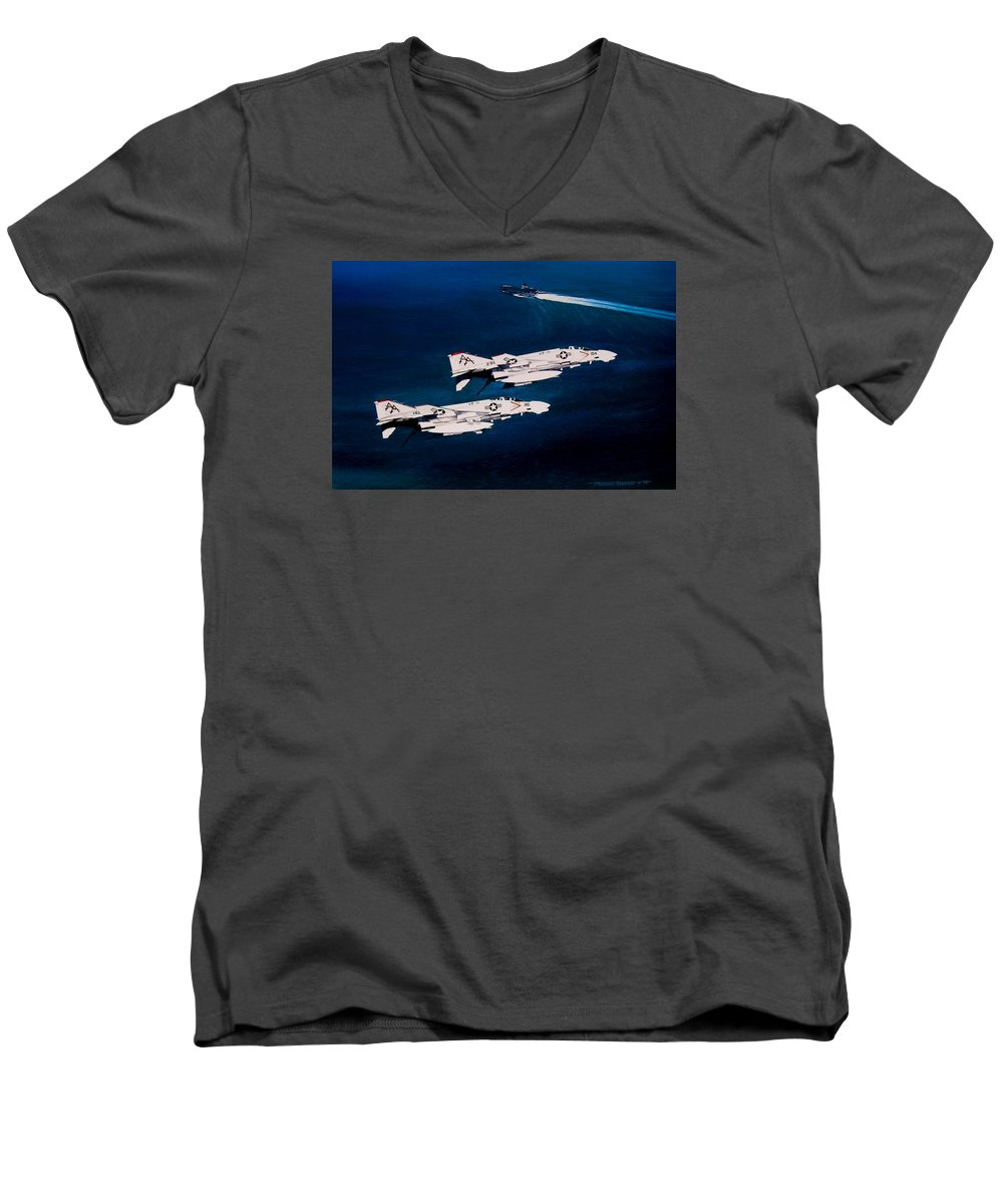 Military Men's V-Neck T-Shirt featuring the painting Forrestal S Phantoms by Marc Stewart