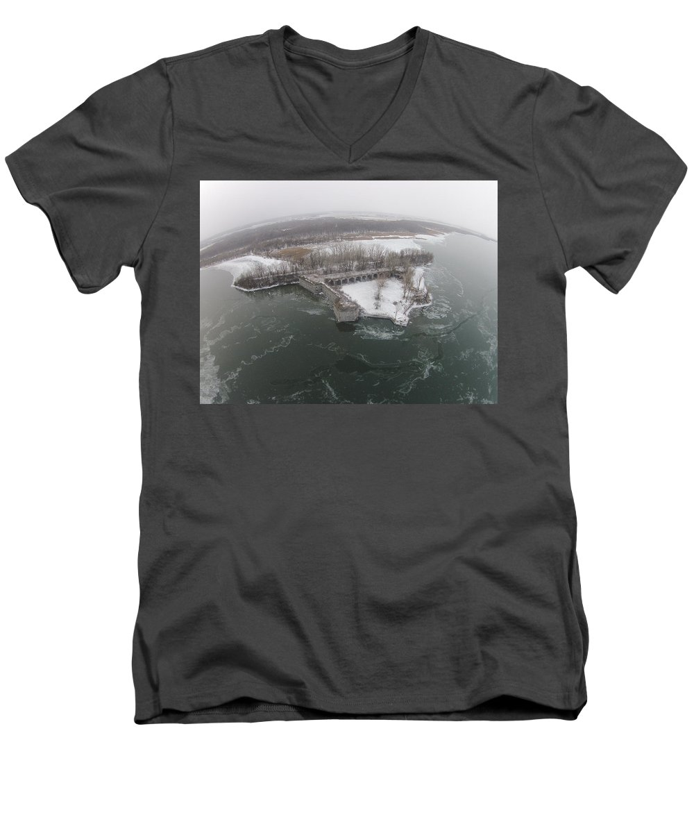Fort Men's V-Neck T-Shirt featuring the photograph Fort Montgomery Winter by Jedidiah Thone