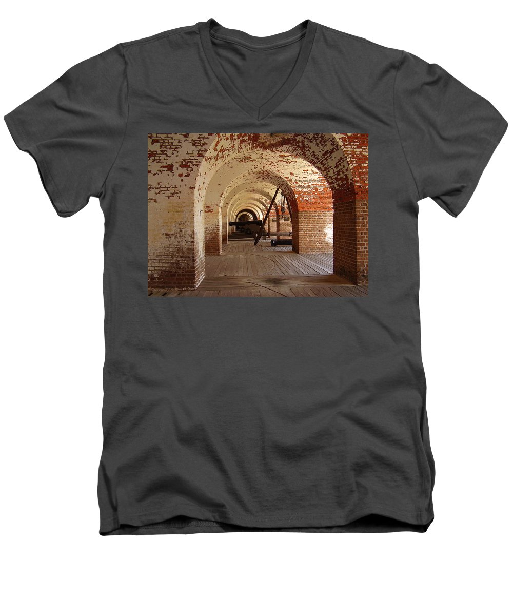 Fort Pulaski Men's V-Neck T-Shirt featuring the photograph Fort Pulaski II by Flavia Westerwelle