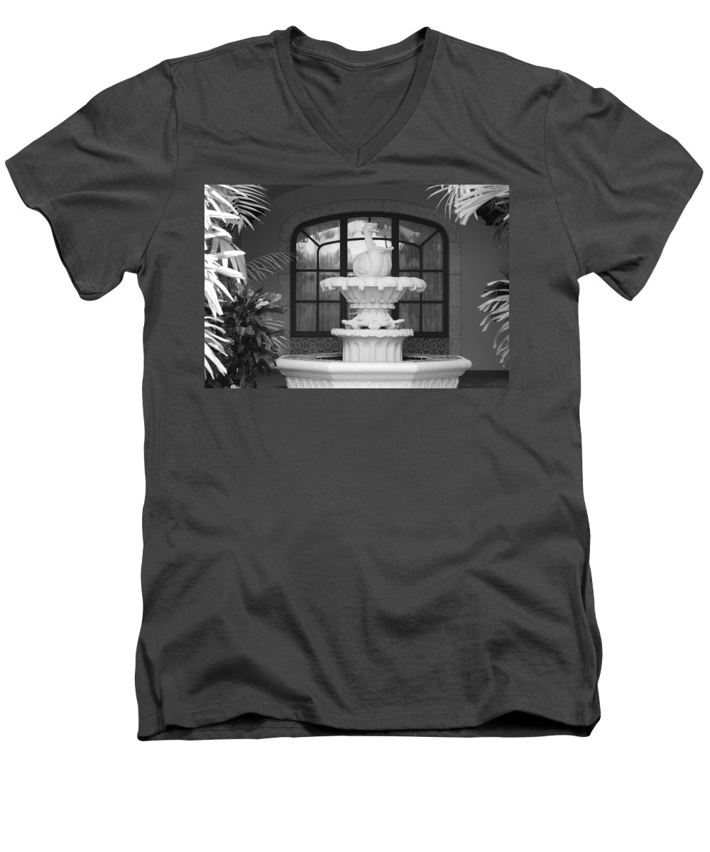 Architecture Men's V-Neck T-Shirt featuring the photograph Fountian And Window by Rob Hans