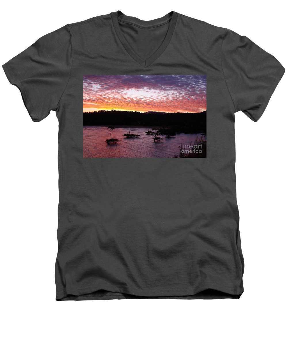 Landscape Men's V-Neck T-Shirt featuring the photograph Four Elements Sunset Sequence 3 Coconuts Qld by Kerryn Madsen - Pietsch