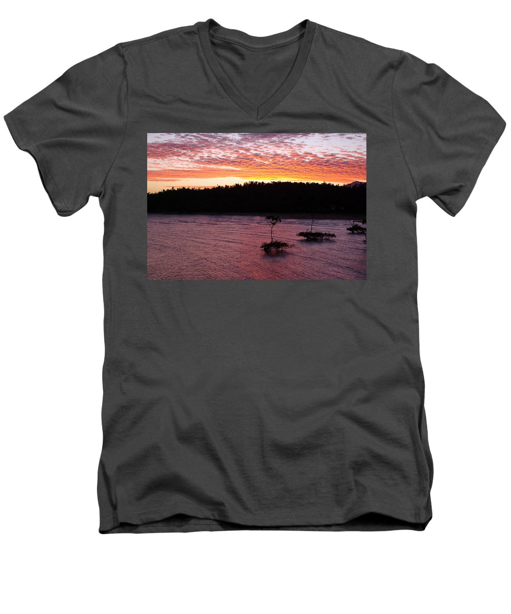 Landscape Men's V-Neck T-Shirt featuring the photograph Four Elements Sunset Sequence 5 Coconuts Qld by Kerryn Madsen - Pietsch