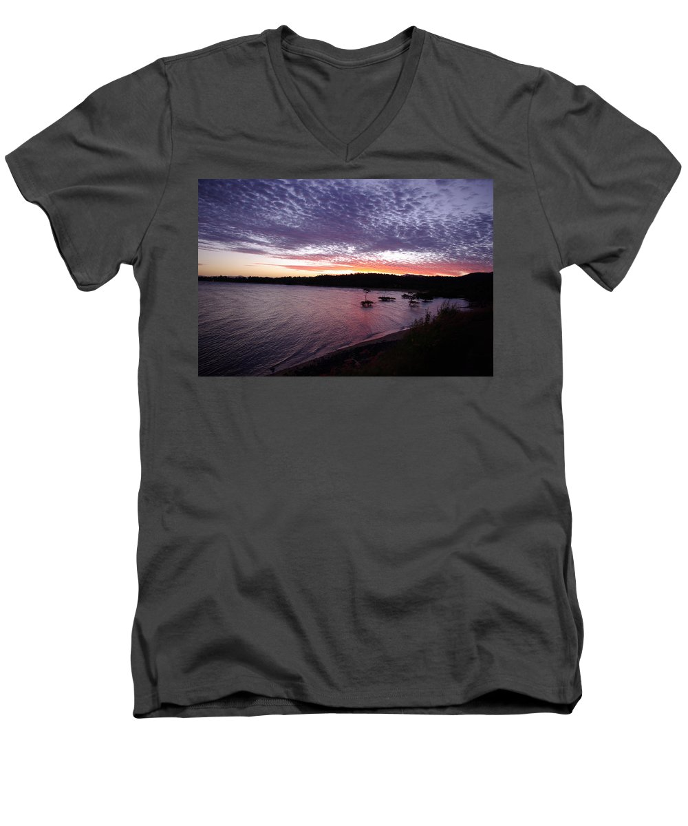 Landscape Men's V-Neck T-Shirt featuring the photograph Four Elements Sunset Sequence 6 Coconuts Qld by Kerryn Madsen-Pietsch