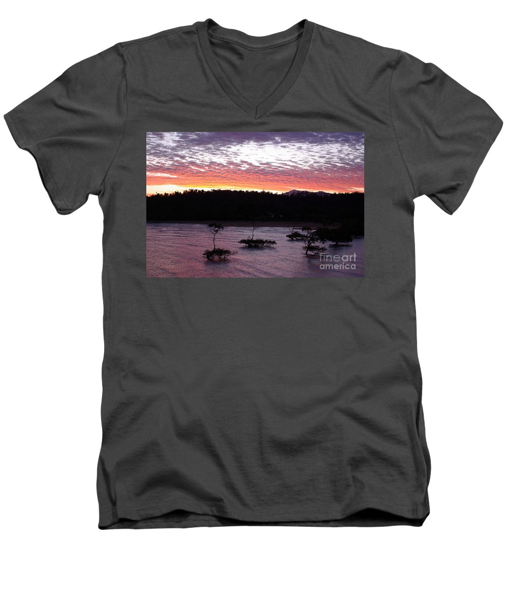 Landscape Men's V-Neck T-Shirt featuring the photograph Four Elements Sunset Sequence 8 Coconuts Qld by Kerryn Madsen - Pietsch