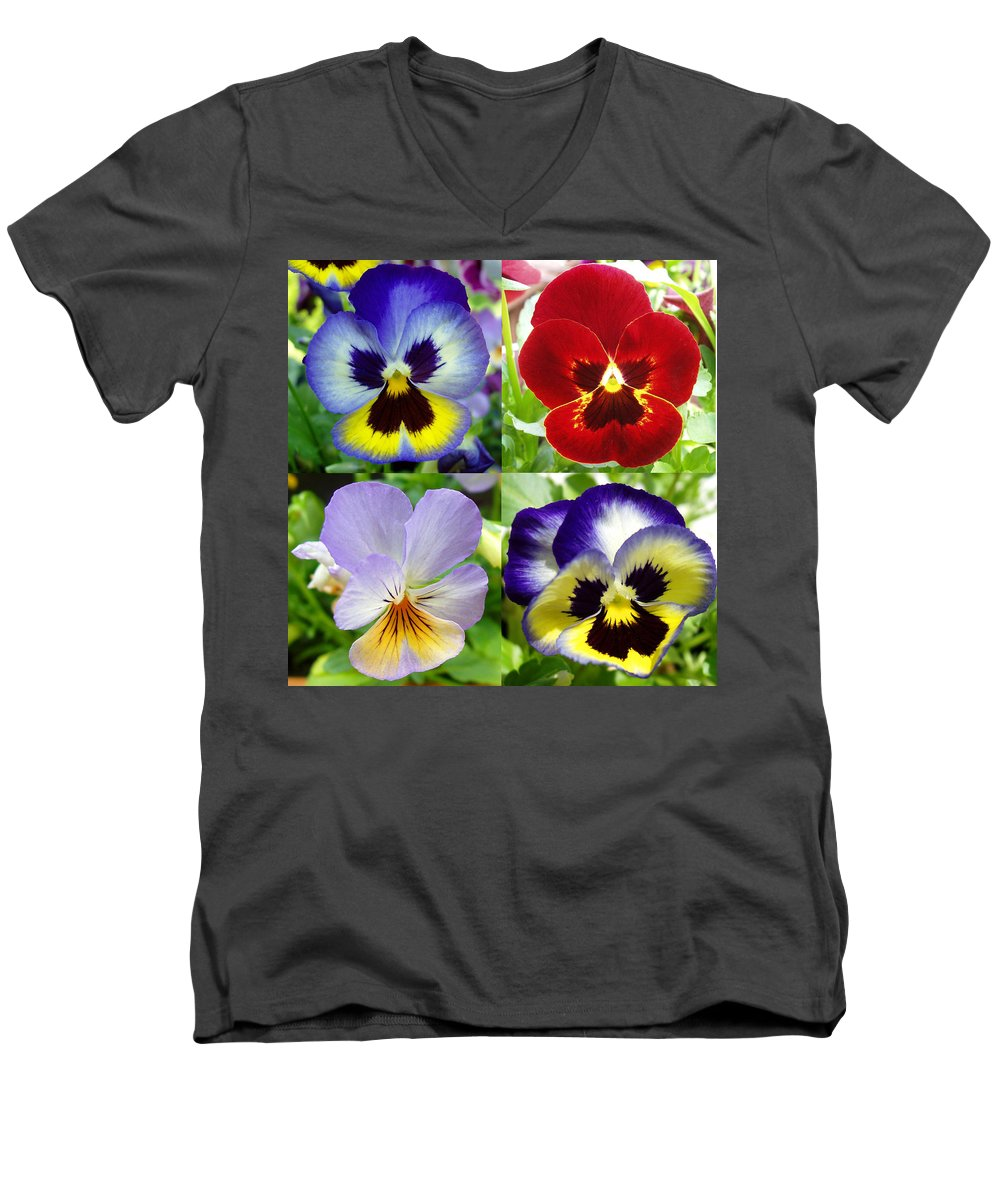 Pansy Men's V-Neck T-Shirt featuring the photograph Four Pansies by Nancy Mueller
