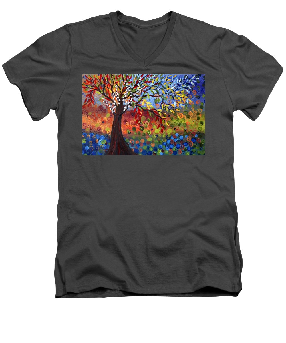 Art Men's V-Neck T-Shirt featuring the painting Four Seasons by Luiza Vizoli