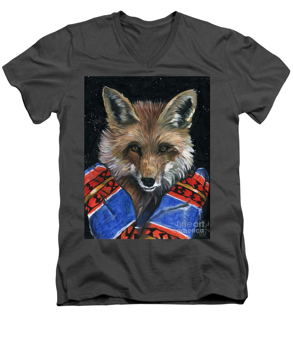 Fox Men's V-Neck T-Shirt featuring the painting Fox Medicine by J W Baker