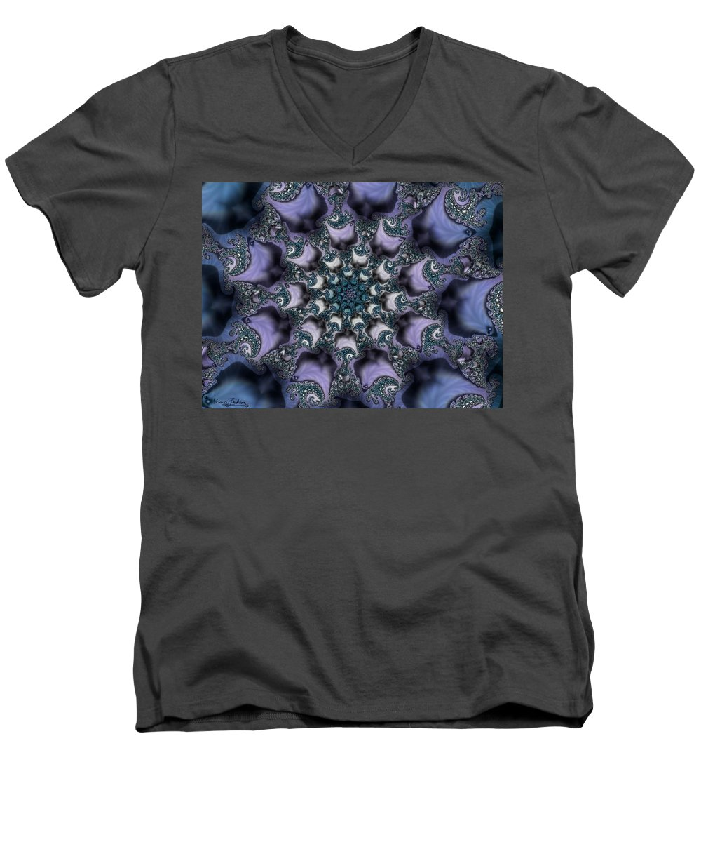 Fractal Rose Blossom Nature Life Organic Men's V-Neck T-Shirt featuring the digital art Fractal 1 by Veronica Jackson