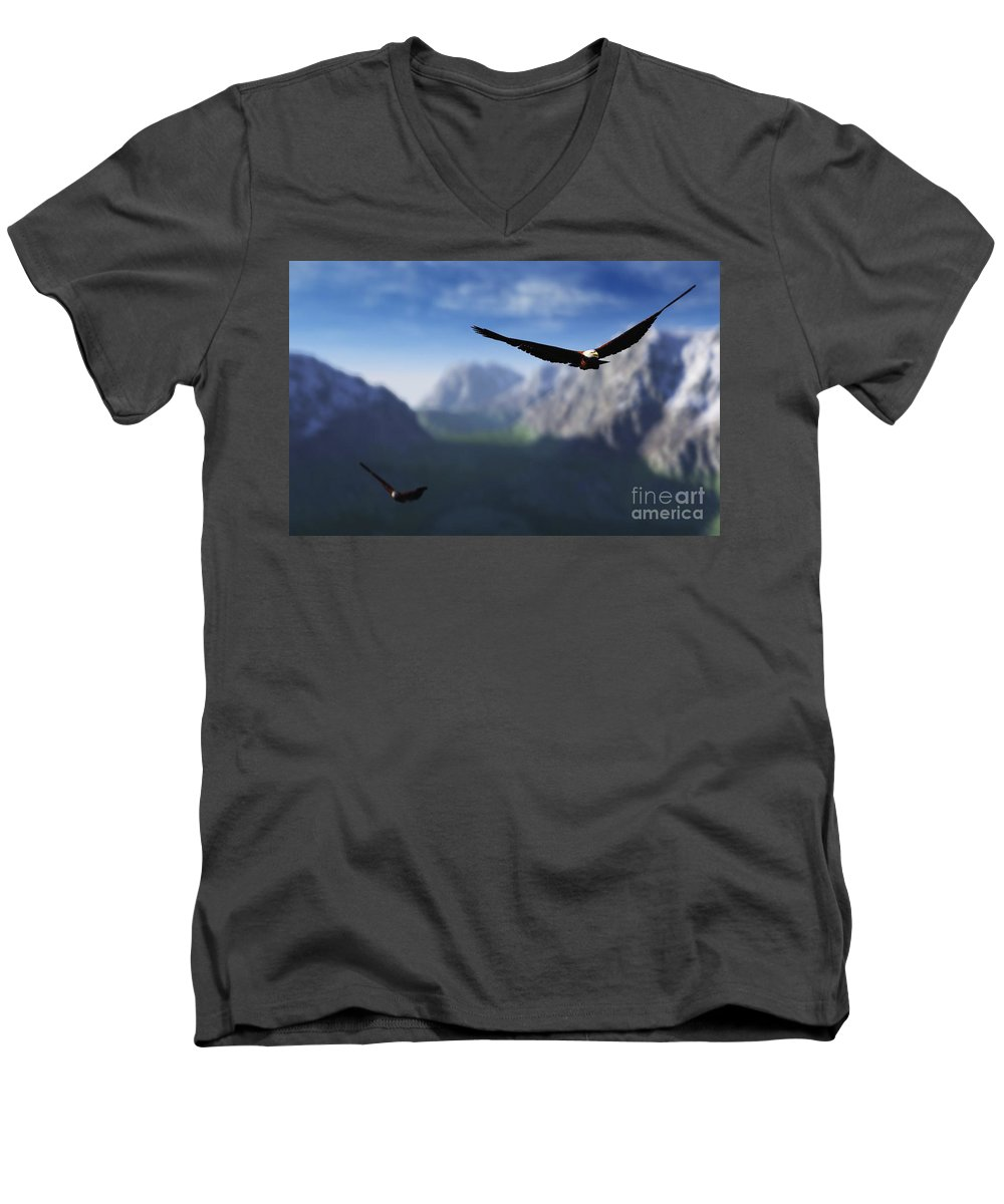 Eagles Men's V-Neck T-Shirt featuring the digital art Free Bird by Richard Rizzo