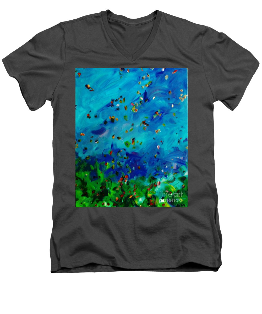 Landscape Men's V-Neck T-Shirt featuring the painting Freelancing by Reina Resto