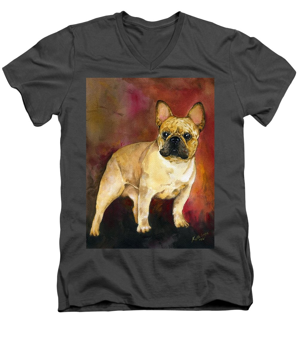 French Bulldog Men's V-Neck T-Shirt featuring the painting French Bulldog by Kathleen Sepulveda