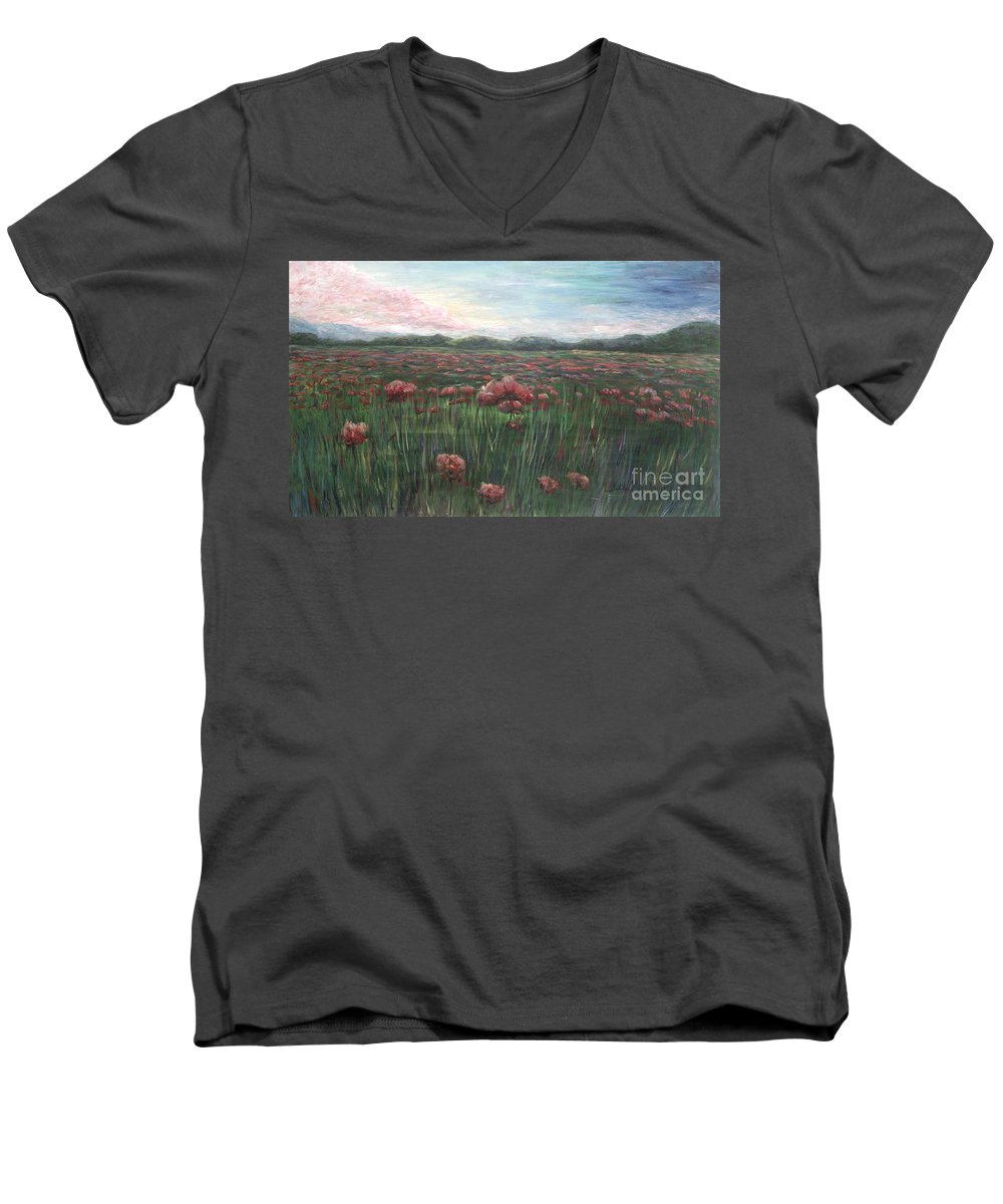 France Men's V-Neck T-Shirt featuring the painting French Poppies by Nadine Rippelmeyer