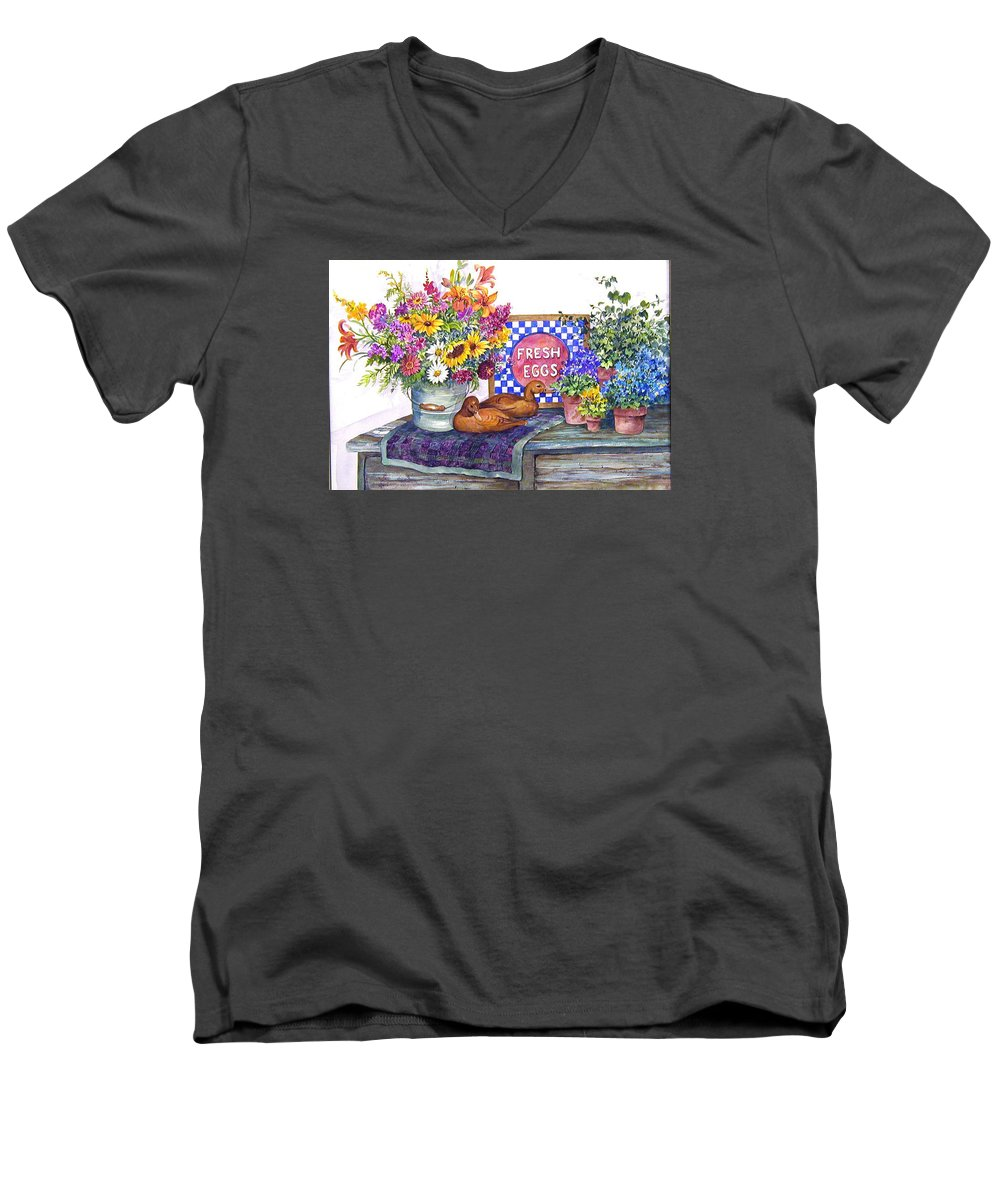 Watercolor;ducks;decoys;floral;mixed Bouquet;potted Plants;checkerboard;quilt; Men's V-Neck T-Shirt featuring the painting Fresh Eggs by Lois Mountz