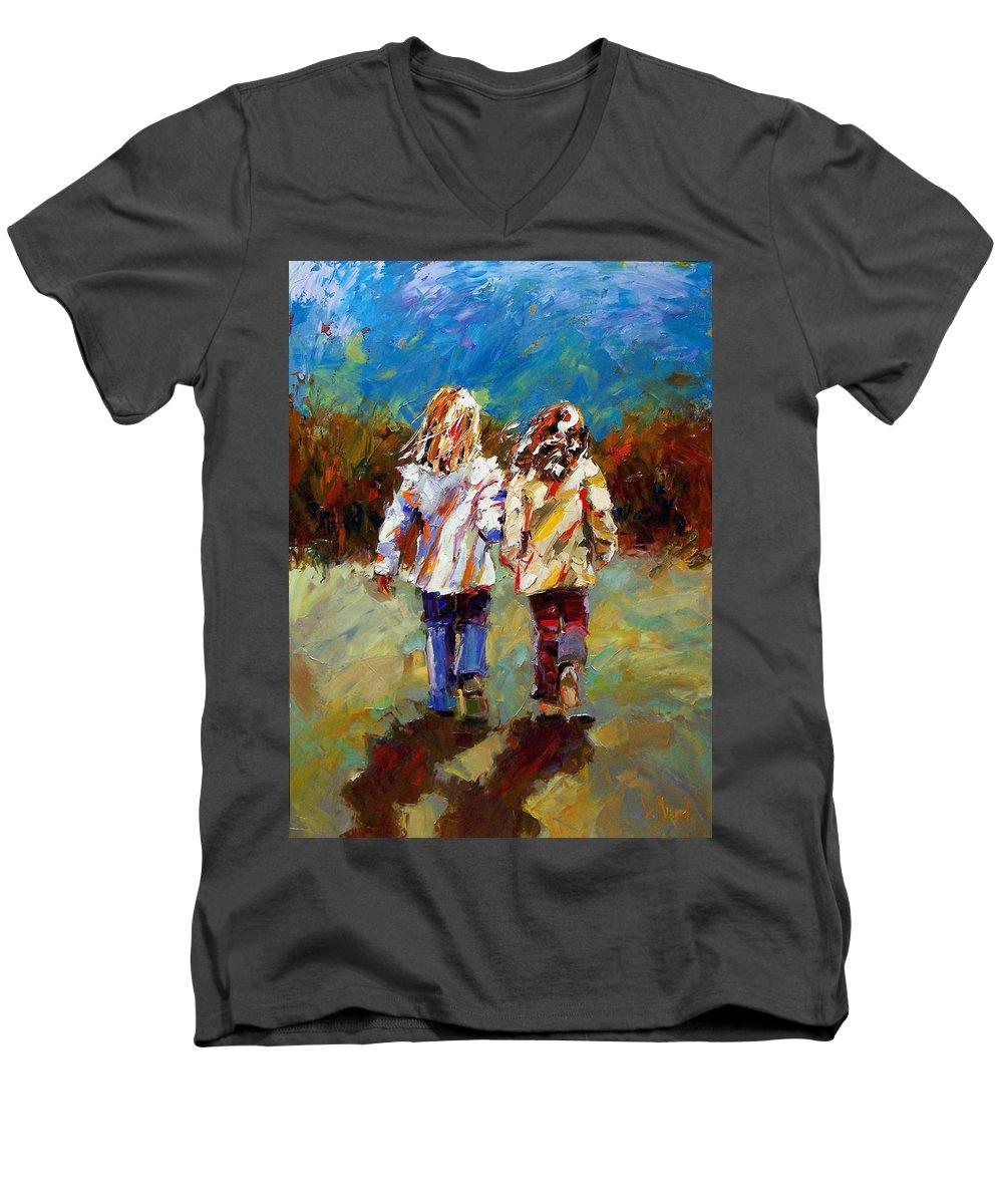 Girls Men's V-Neck T-Shirt featuring the painting Friends Forever by Debra Hurd
