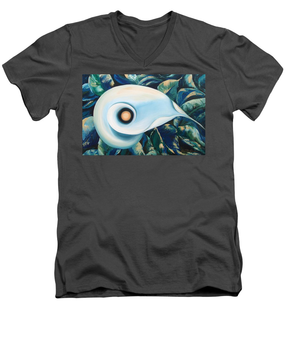 Flowers Men's V-Neck T-Shirt featuring the painting From The Heart Of A Flower by Gina De Gorna