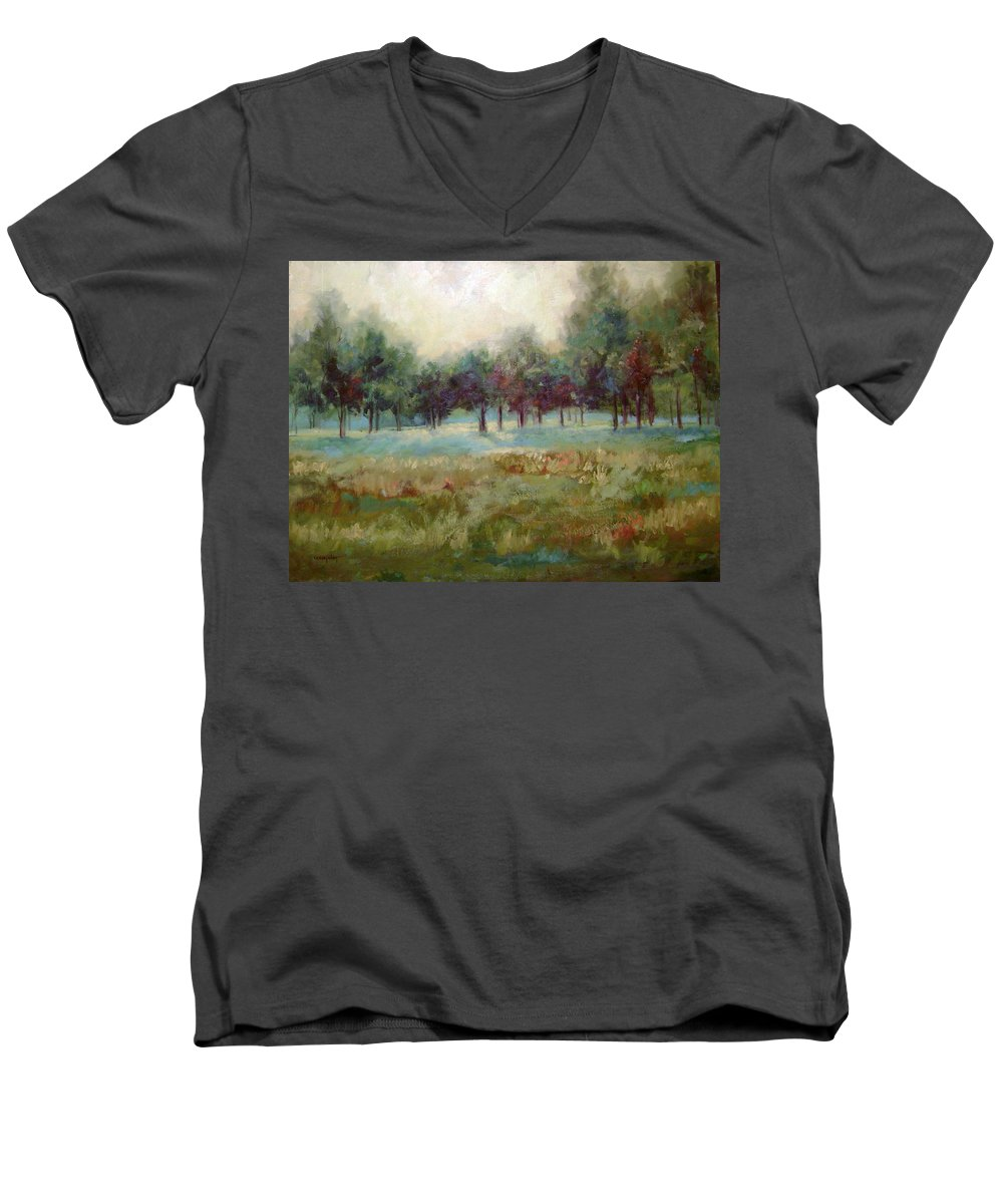 Country Scenes Men's V-Neck T-Shirt featuring the painting From The Other Side by Ginger Concepcion