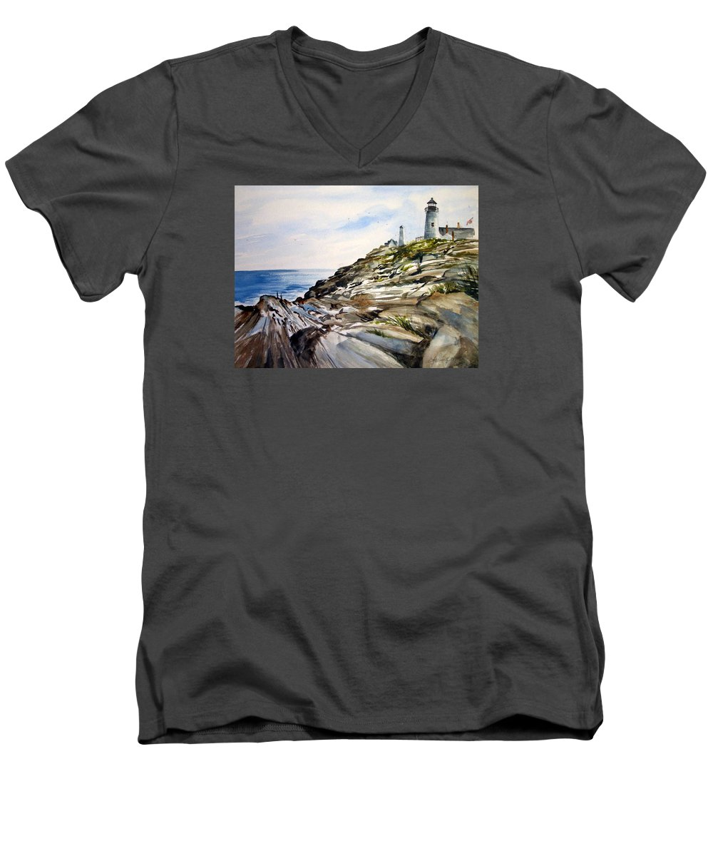 Pemaquid Light House;rocks;ocean;maine;pemaquid;light;lighthouse; Men's V-Neck T-Shirt featuring the painting From The Rocks Below by Lois Mountz