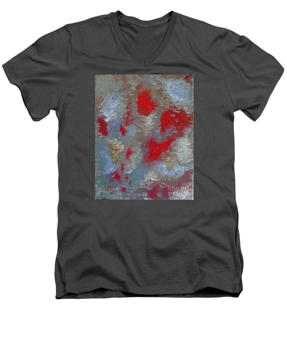 Abstract Men's V-Neck T-Shirt featuring the painting Frozen Street by Laurie Morgan