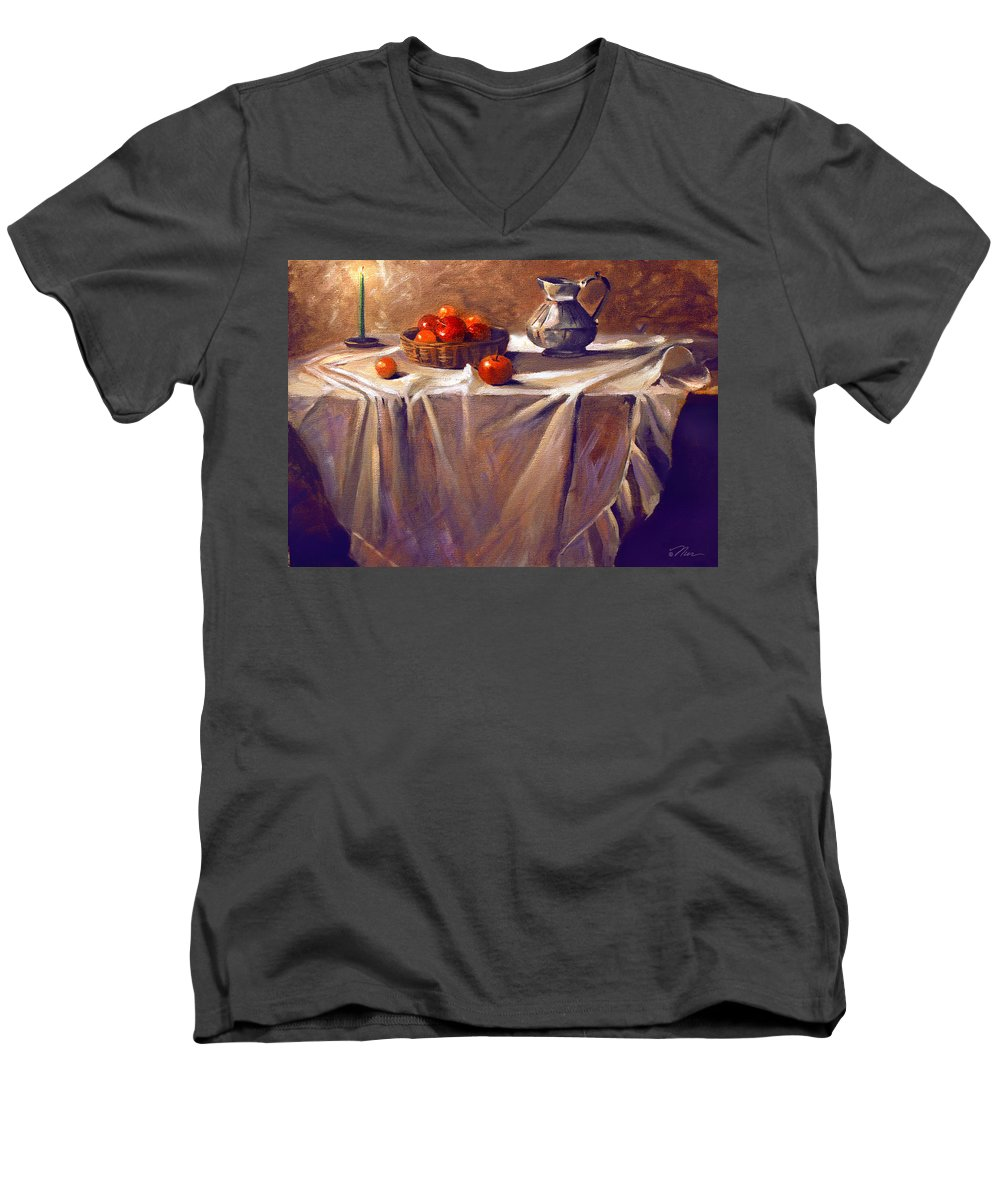 Still Life Men's V-Neck T-Shirt featuring the painting Fruit By Candle Light by Nancy Griswold