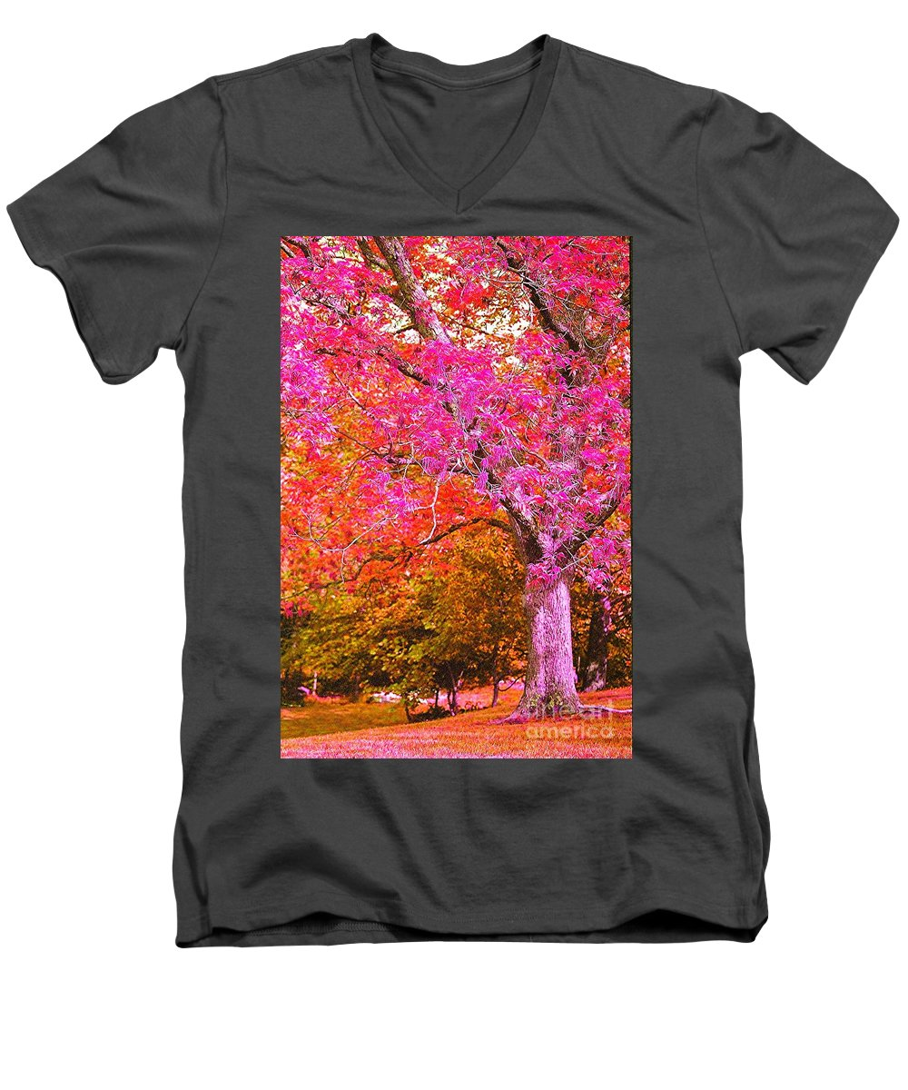 Fuschia Men's V-Neck T-Shirt featuring the photograph Fuschia Tree by Nadine Rippelmeyer