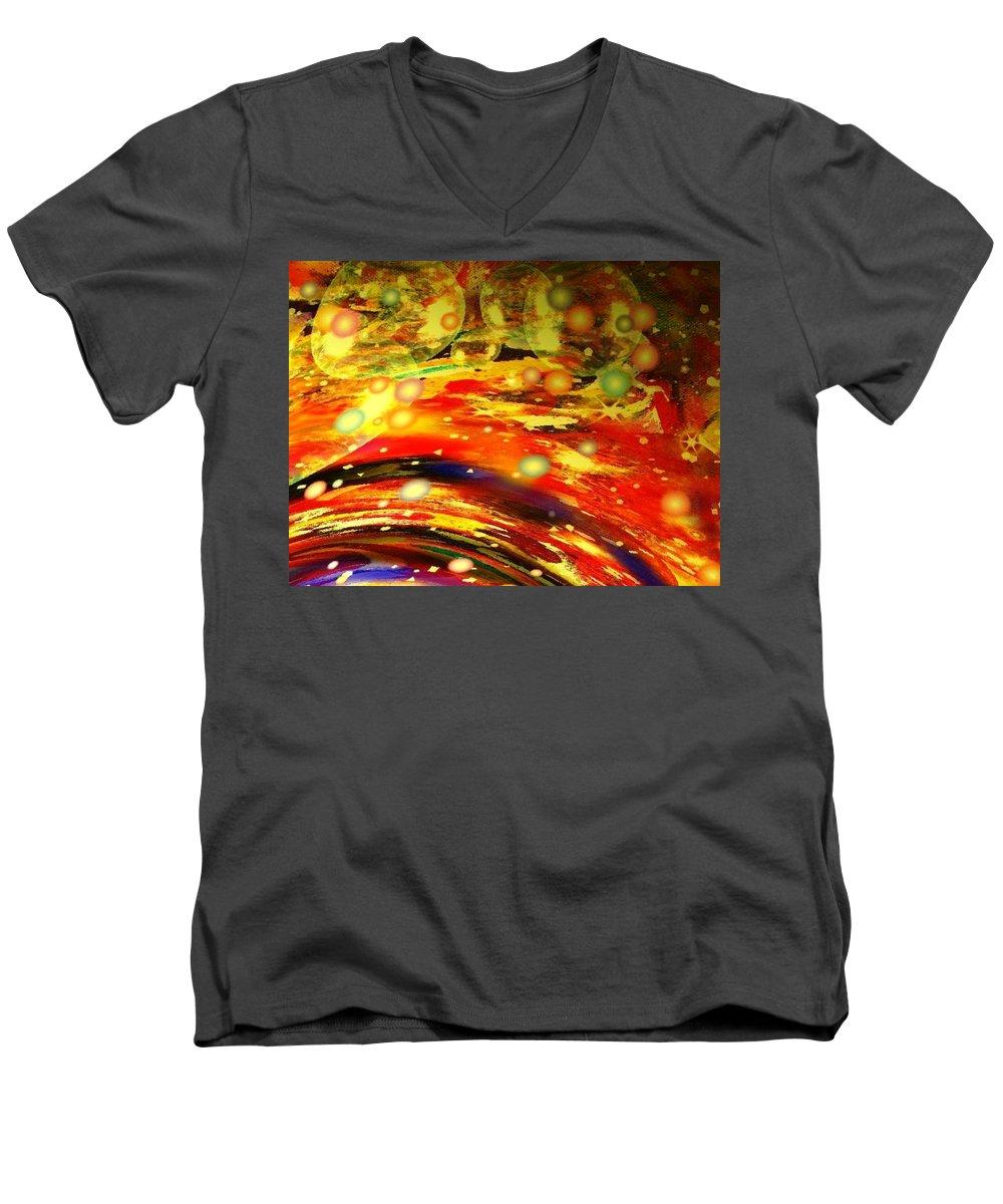 Galaxy Men's V-Neck T-Shirt featuring the digital art Galaxy by Natalie Holland