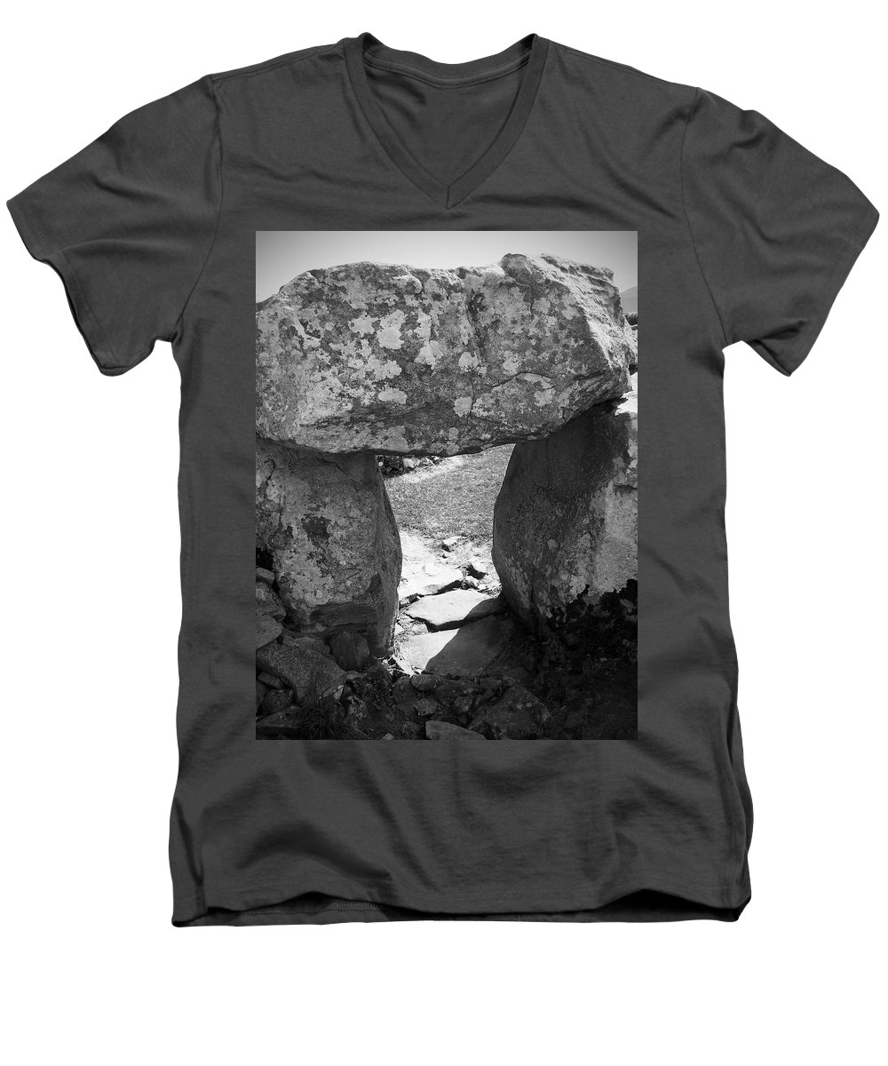 Ireland Men's V-Neck T-Shirt featuring the photograph Gallery Entrance At Creevykeel Court Cairn Ireland by Teresa Mucha