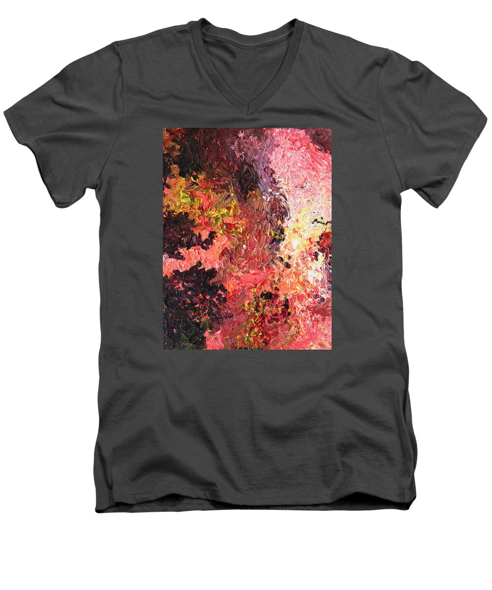 Fusionart Men's V-Neck T-Shirt featuring the painting Ganesh In The Garden by Ralph White