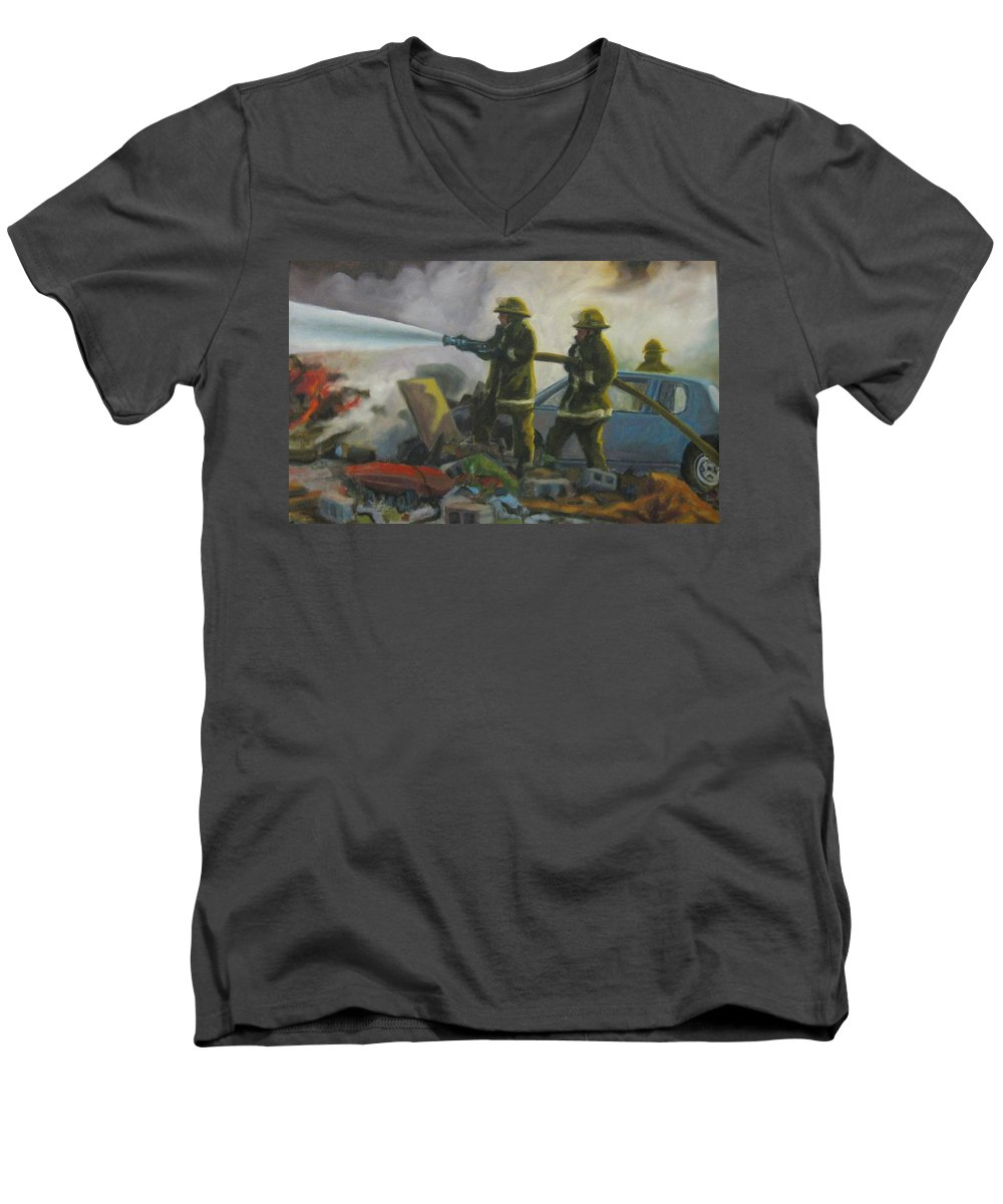 Firefighters Men's V-Neck T-Shirt featuring the painting Garage Fire by John Malone
