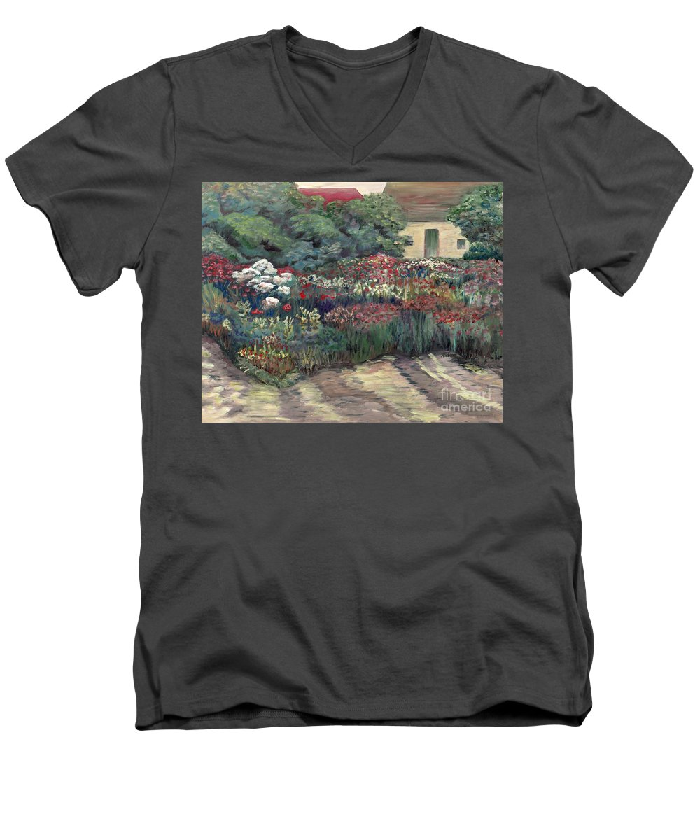 Breck Men's V-Neck T-Shirt featuring the painting Garden At Giverny by Nadine Rippelmeyer