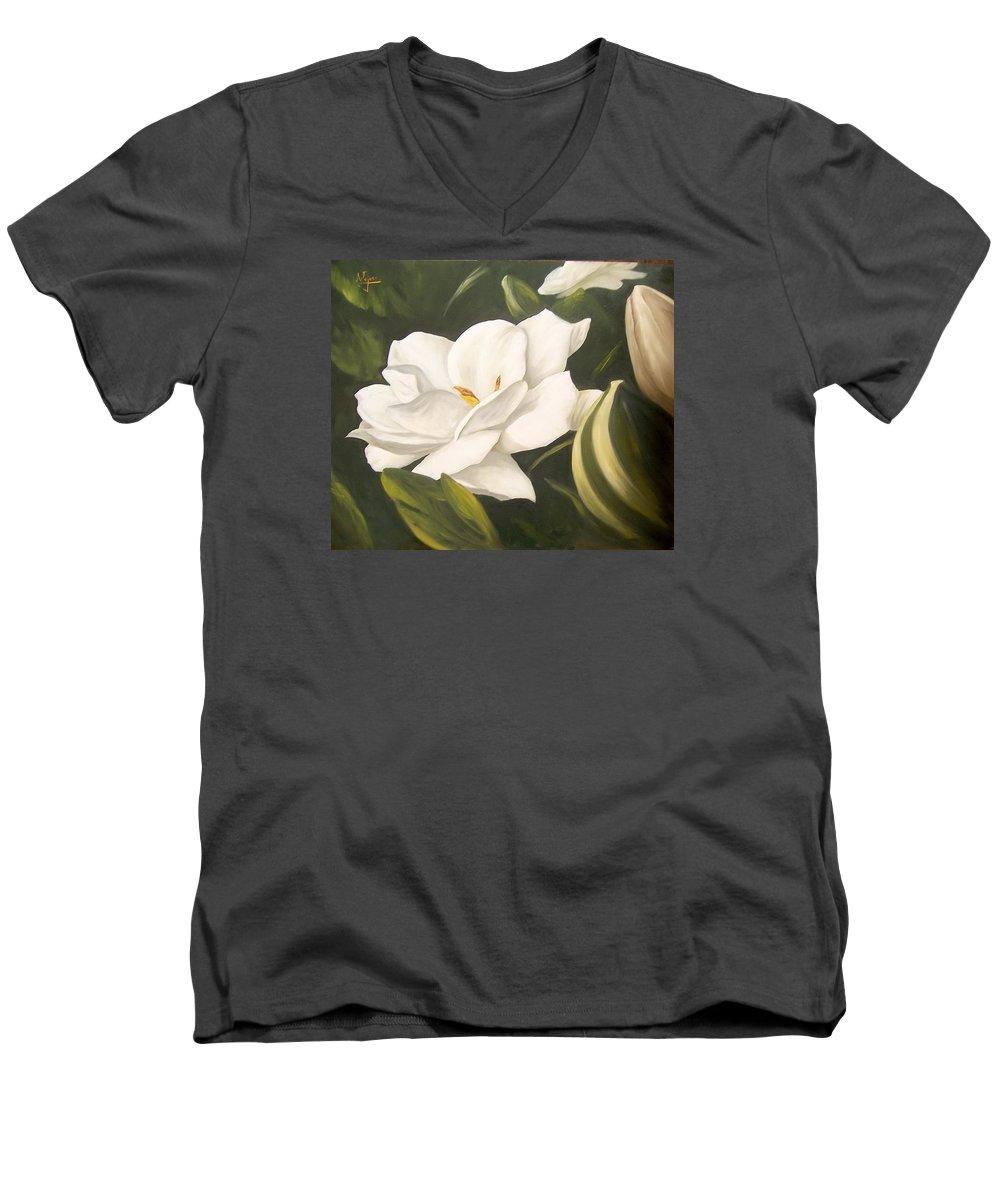 Gardenia Flower Men's V-Neck T-Shirt featuring the painting Gardenia by Natalia Tejera