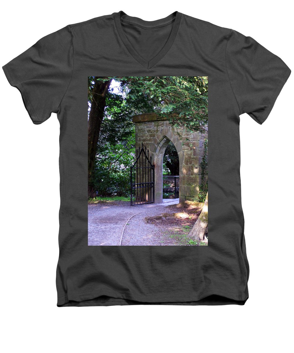 Irish Men's V-Neck T-Shirt featuring the photograph Gate At Cong Abbey Cong Ireland by Teresa Mucha