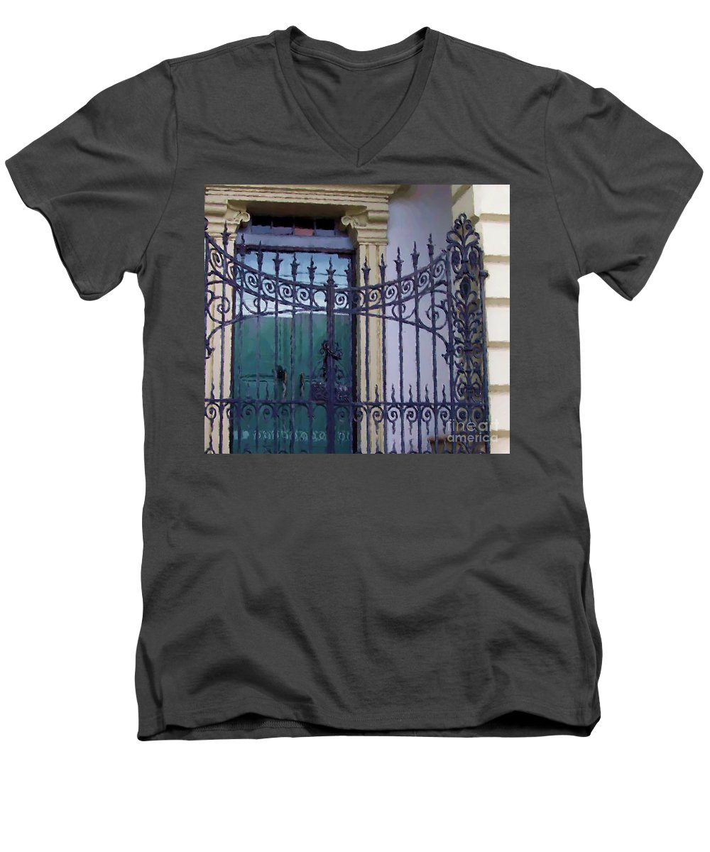Gate Men's V-Neck T-Shirt featuring the photograph Gated by Debbi Granruth