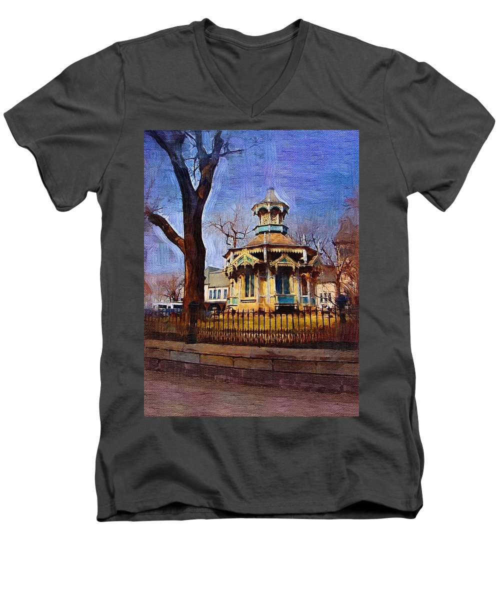 Architecture Men's V-Neck T-Shirt featuring the digital art Gazebo And Tree by Anita Burgermeister
