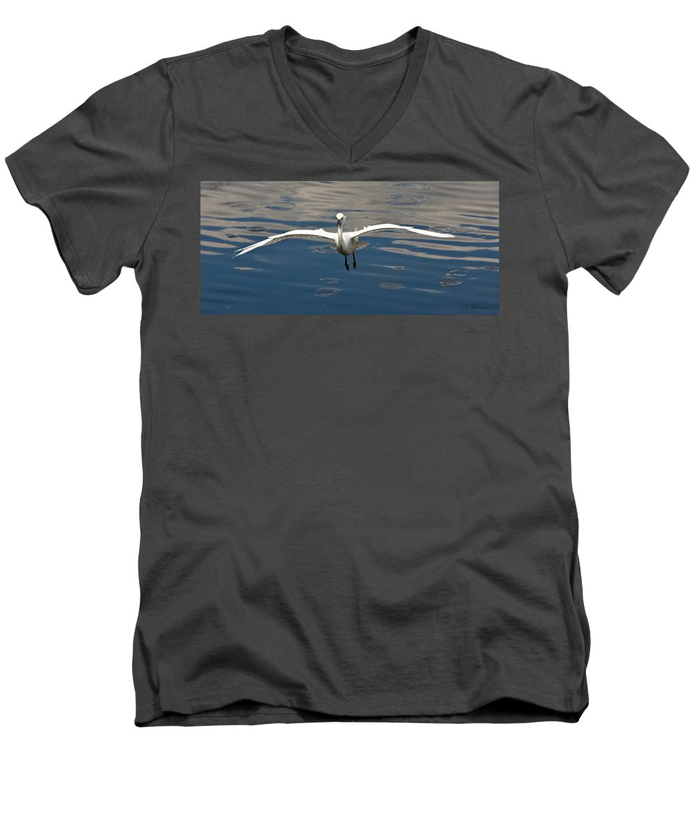 Snowy Egret Men's V-Neck T-Shirt featuring the photograph Gear Down by Christopher Holmes