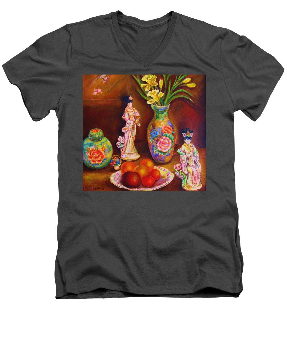 Geishas Men's V-Neck T-Shirt featuring the painting Geisha Dolls by Carole Spandau