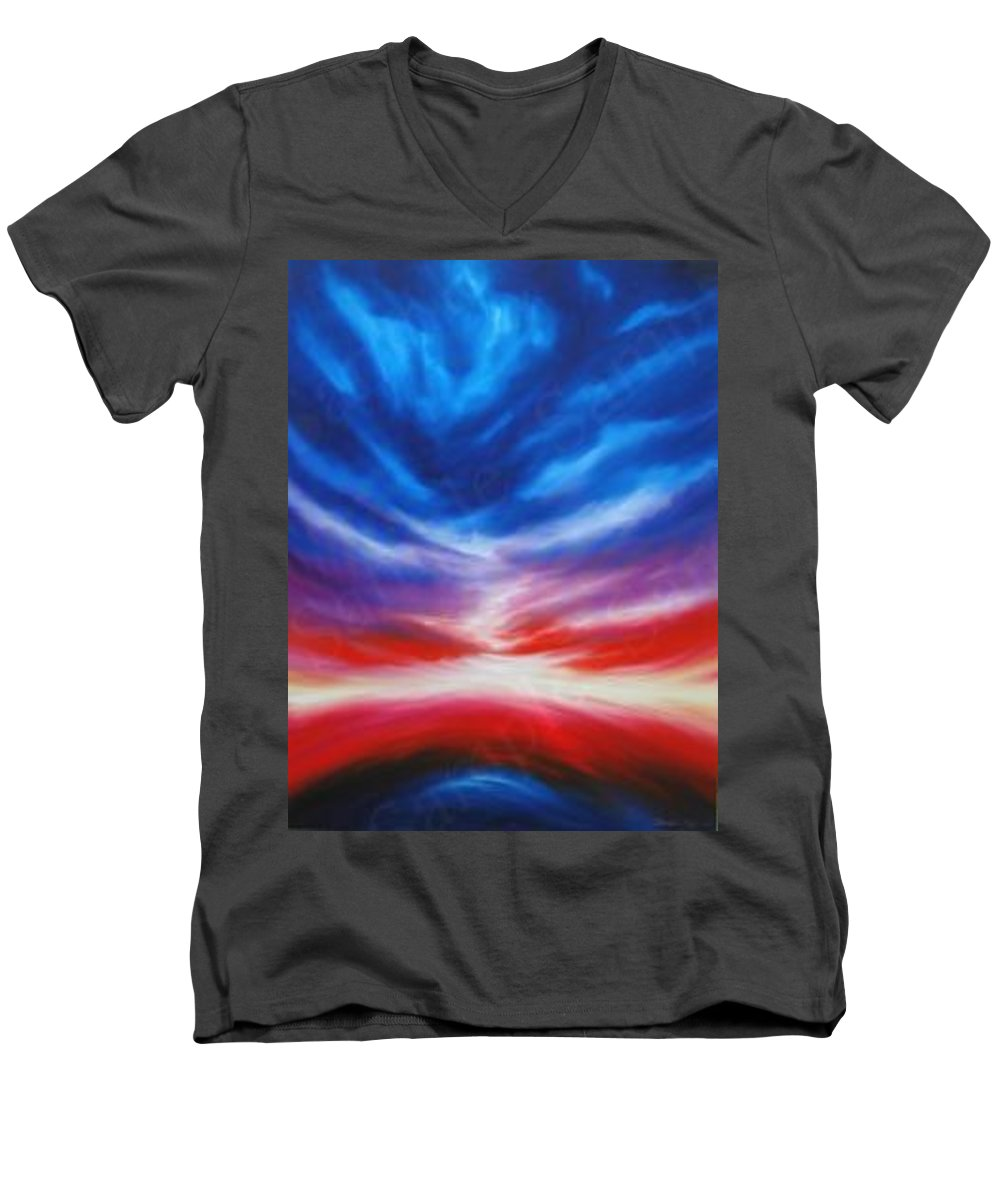 Tempest Men's V-Neck T-Shirt featuring the painting Genesis IIi by James Christopher Hill